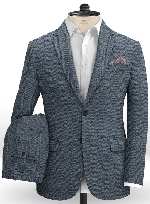 Harris Tweed Wide Herringbone Blue Suit