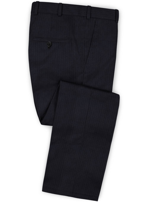 Herringbone Wool Blue Suit - Click Image to Close