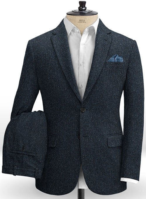 Harris Tweed Dark Blue Herringbone Suit
