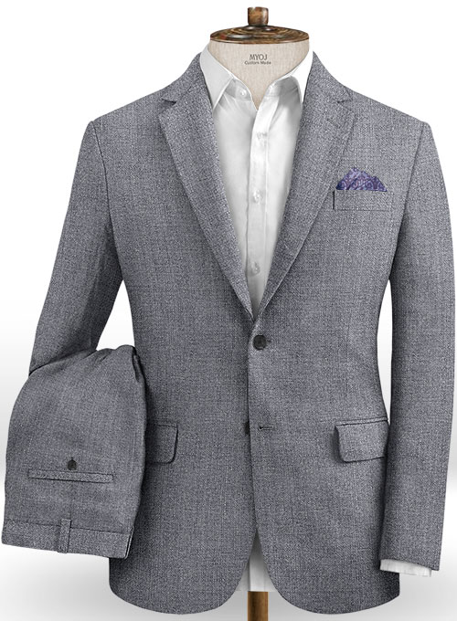 Italian Khyber Gray Blue Linen Suit Makeyourownjeans Made To