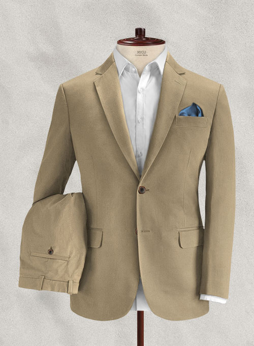 Italian Beige Cotton Stretch Suit