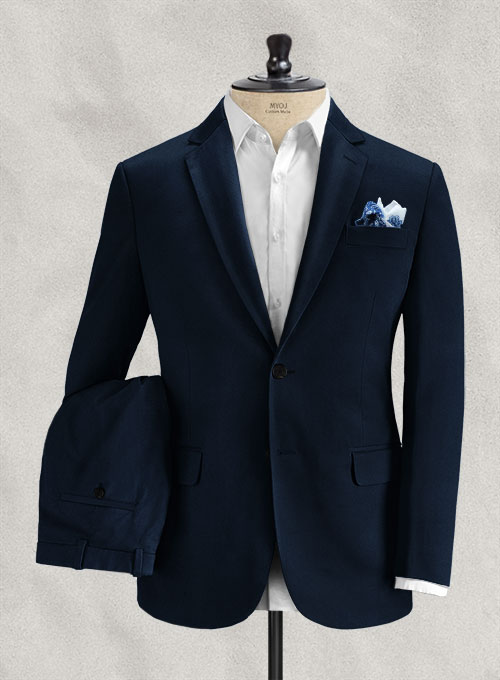 Italian Navy Blue Cotton Stretch Suit