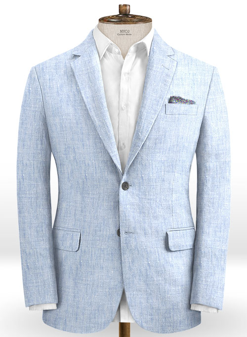 Italian Sky Blue Linen Suit - Click Image to Close
