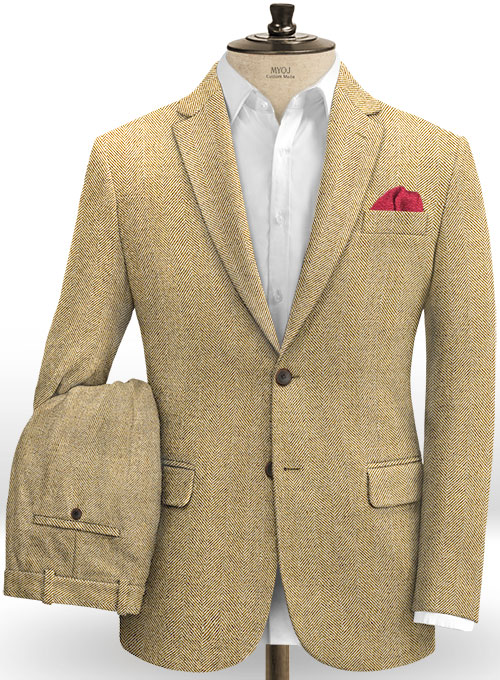 Italian Wide Herringbone Beige Tweed Suit