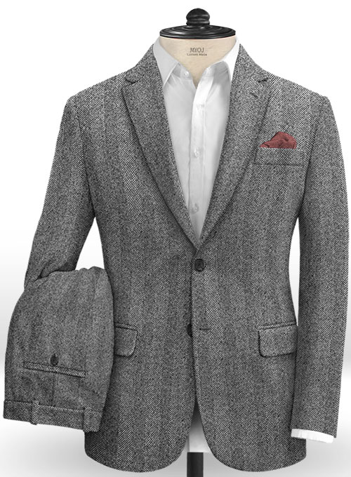 Italian Wide Herringbone Charcoal Tweed Suit