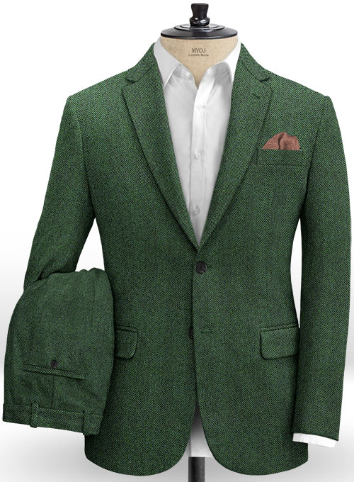 Italian Wide Herringbone Green Tweed Suit