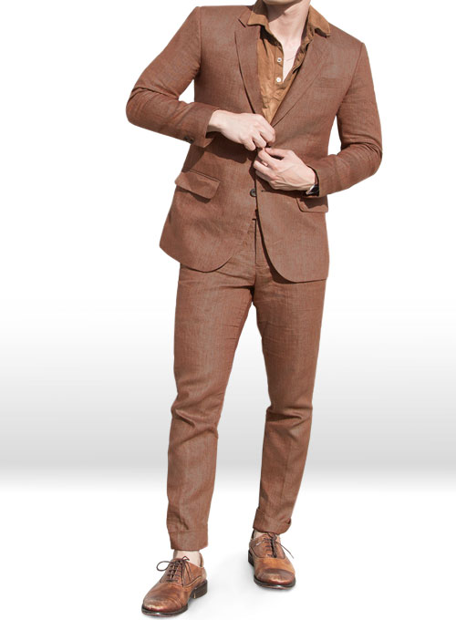 Italian Brown Twill Linen Suit Makeyourownjeans 174 Made