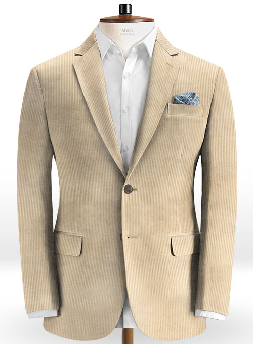 Light Beige Thick Corduroy Suit - Click Image to Close