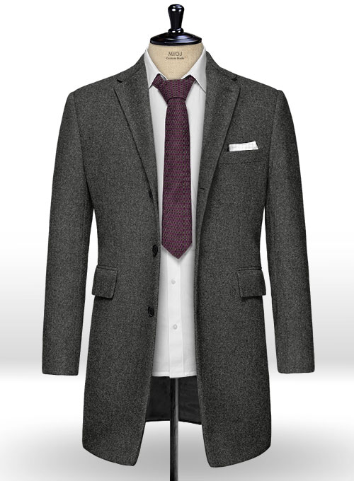 Light Weight Charcoal Tweed Overcoat - Click Image to Close