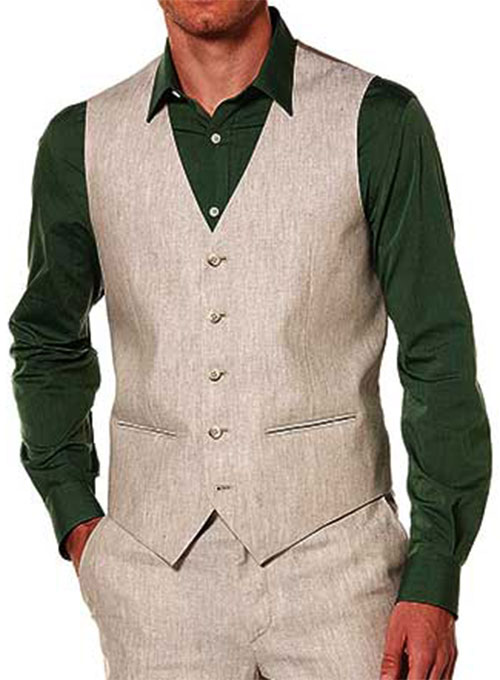 Linen Waist Coat - Pre Set Sizes - Quick Order