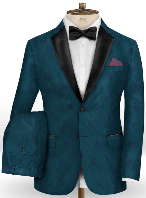 Lion Dark Teal Wool Tuxedo Suit