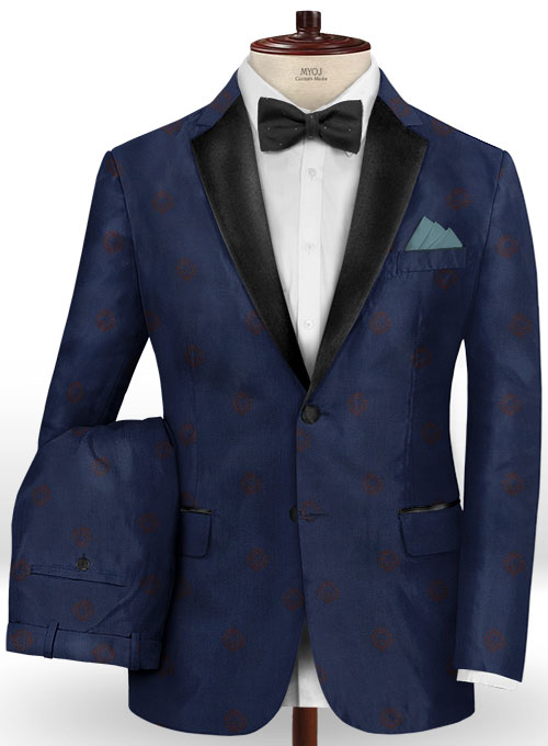 Lion Oxford Blue Wool Tuxedo Suit