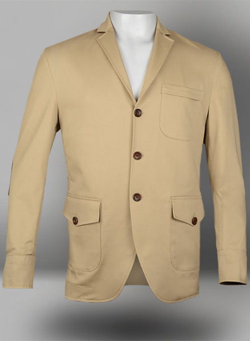 Lt Beige Super Cotton Stretch Jacket with Trim