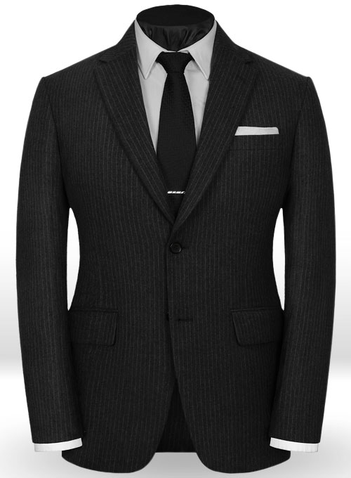 Light Weight Black Stripe Tweed Suit - Click Image to Close