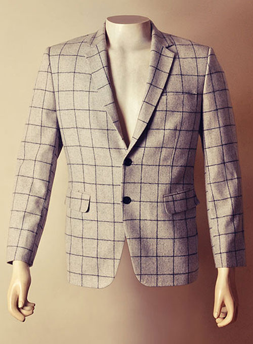 Lt Wt Checks Lt Gray Tweed Jacket