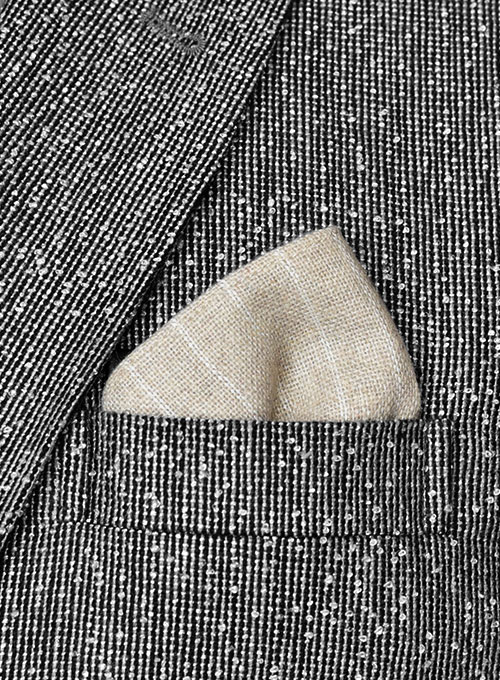 Tweed Pocket Square - Stripe Beige - Click Image to Close