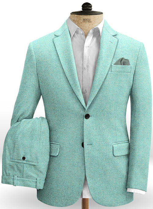 Melange Aqua Blue Tweed Suit
