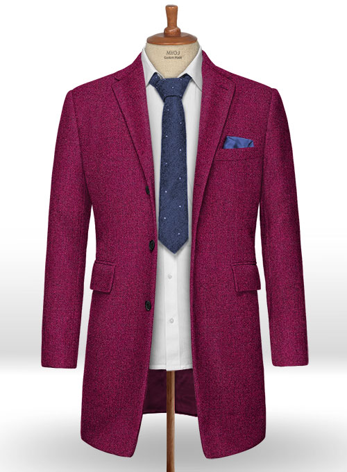 Melange Bubble Pink Tweed Overcoat - Click Image to Close