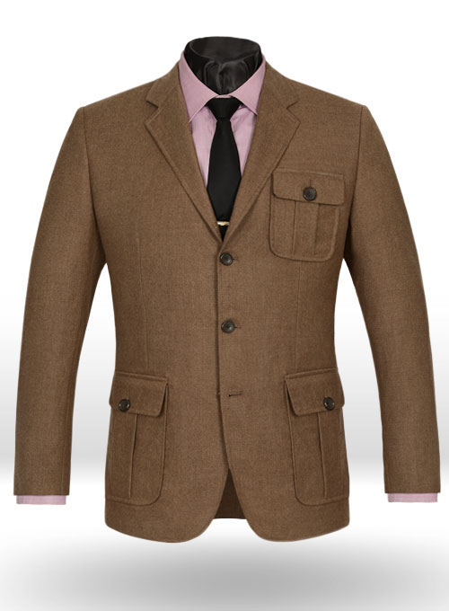mid brown flannel wool danish style sports coat