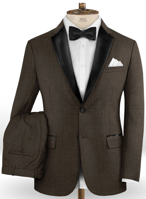 Napolean Sharkskin Dark Brown Wool Suit