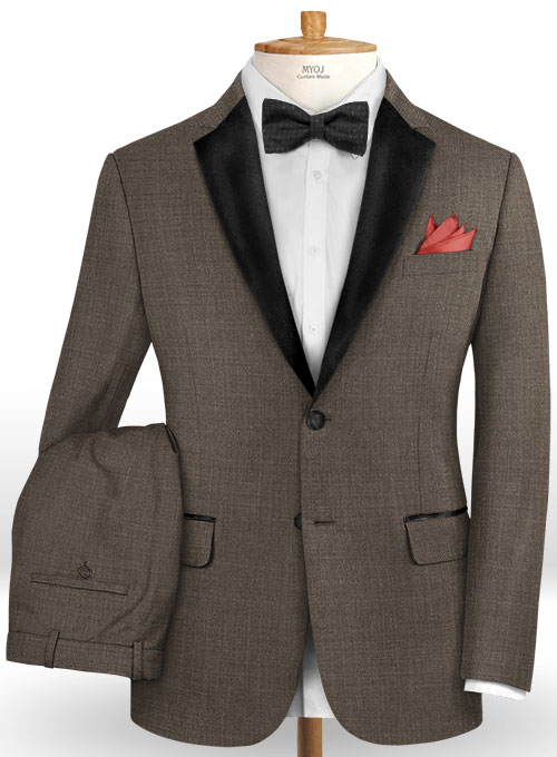 Napolean Sharkskin Brown Wool Tuxedo Suit