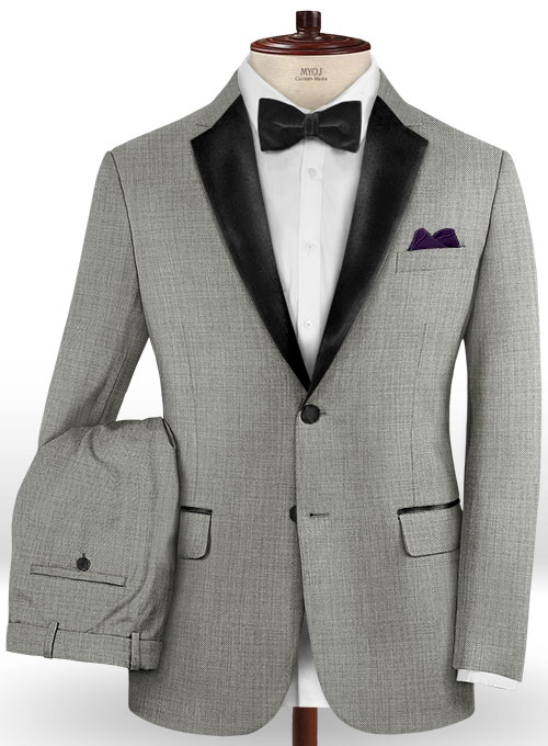 Napolean Sharkskin Light Gray Wool Tuxedo Suit