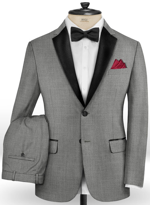 Napolean Worsted Light Gray Wool Tuxedo Suit