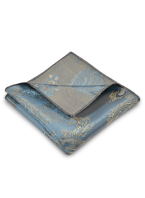 Paisley Pocket Square - Pine Blue