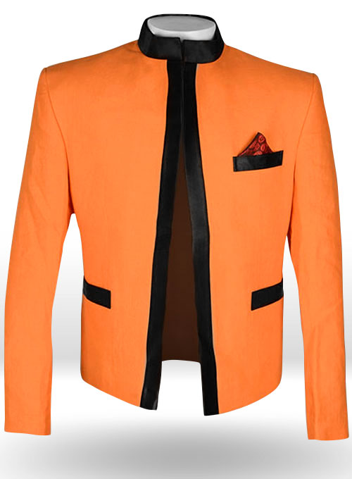Pure Neon Orange Linen Nehru Tuxedo Jacket