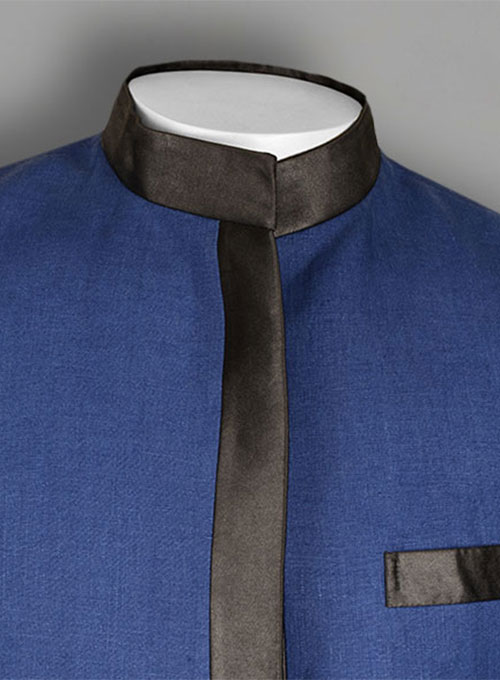 Pure Powder Blue Linen Nehru Tuxedo Jacket