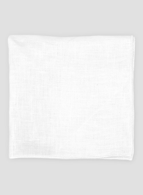 Linen Pocket Square - Pure White - Click Image to Close