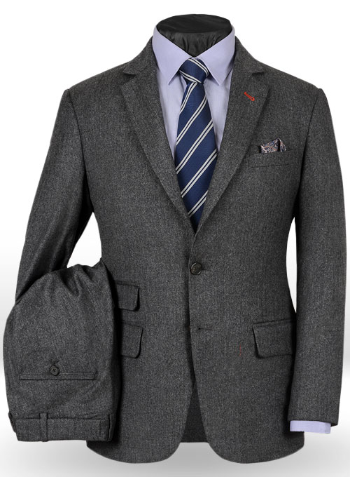 Reda Flannel Dark Gray Pure Wool Suit Makeyourownjeans