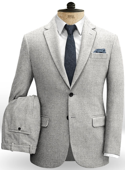 Rope Weave Light Gray Tweed Suit
