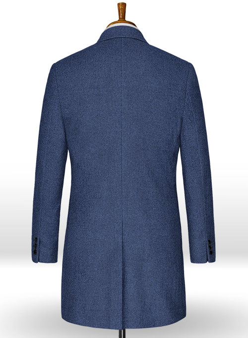 Rope Weave Persian Blue Tweed Overcoat - Click Image to Close