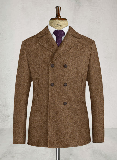 Royal Brown Heavy Tweed Pea Coat