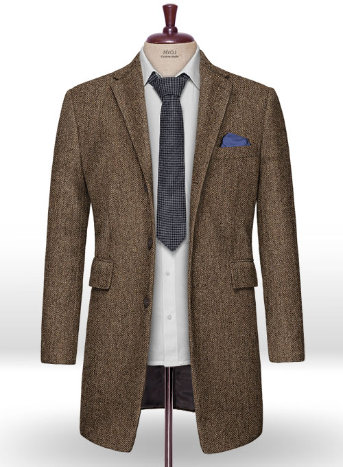 Rust Herringbone Tweed Overcoat - Click Image to Close