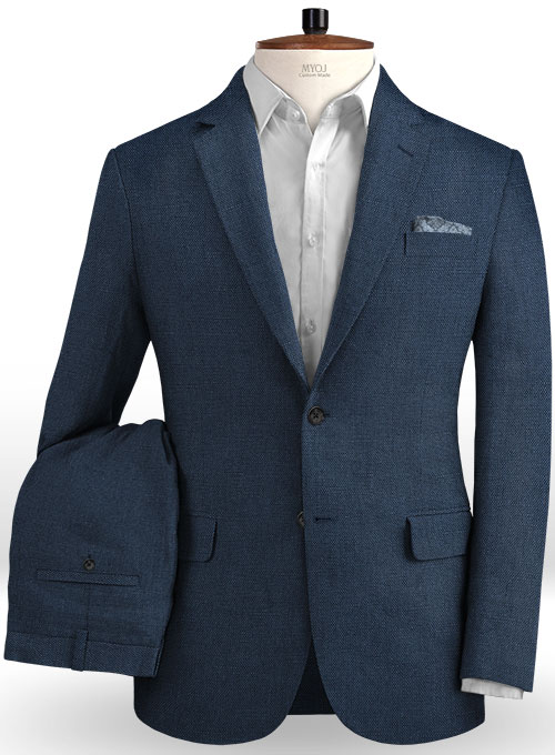 Safari Blue Cotton Linen Suit Makeyourownjeans 174 Made To