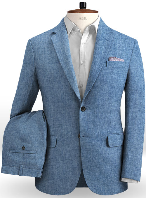 Solbiati Denim Light Blue Linen Suit Makeyourownjeans