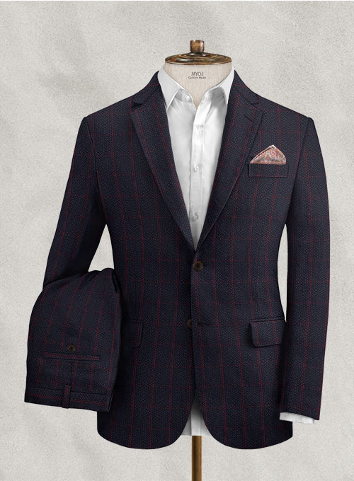 Solbiati Dark Blue Checks Seersucker Suit