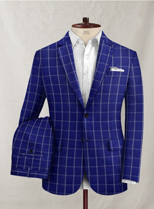Solbiati Cobalt Blue Checks Seersucker Suit