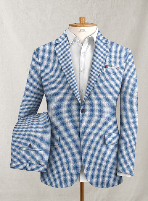Solbiati Gingham Blue Seersucker Suit