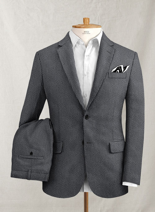 Solbiati Gray Blue Seersucker Suit