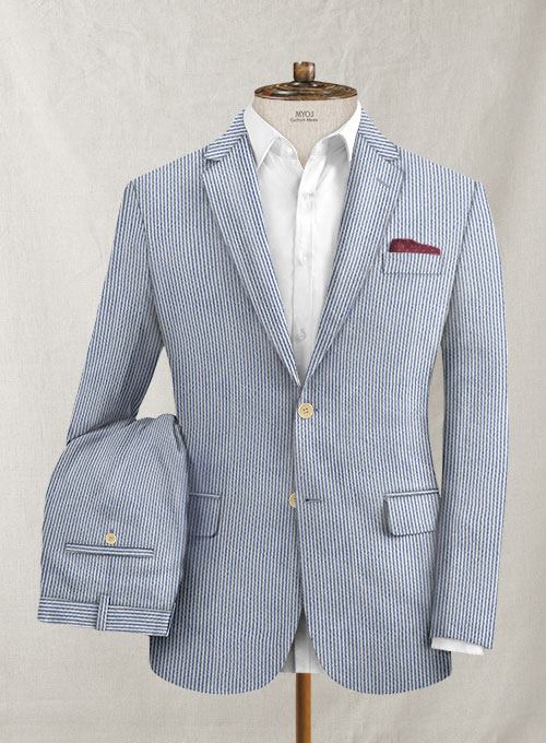 Solbiati Light Blue Seersucker Suit