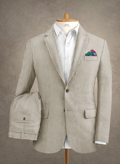 Solbiati Light Brown Seersucker Suit