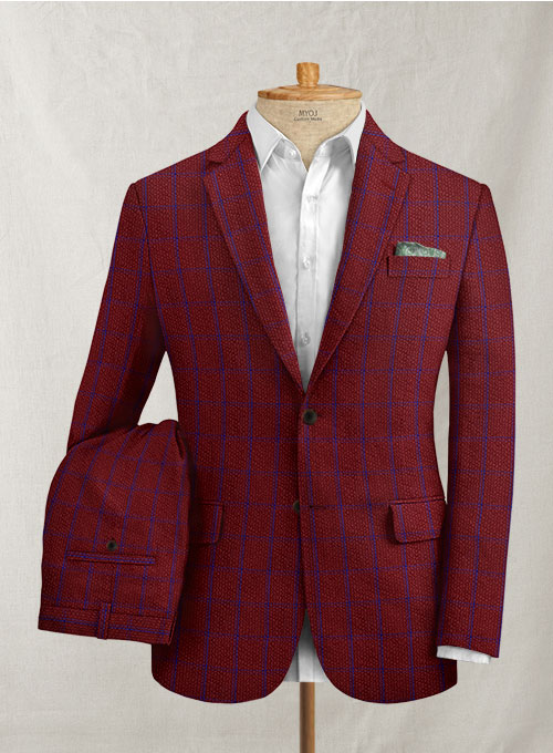 Solbiati Wine Checks Seersucker Suit