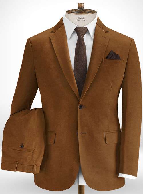 Spring Brown Cotton Stretch Suit
