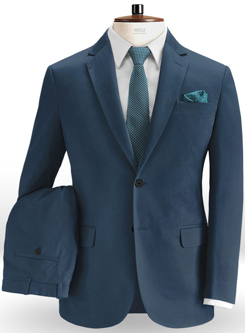 Stretch Summer Weight Ink Blue Chino Suit