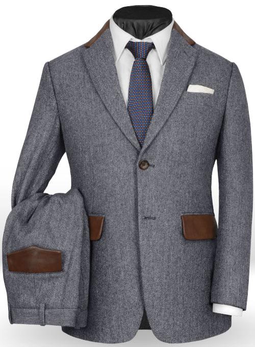 Vintage Herringbone Blue Tweed Suit