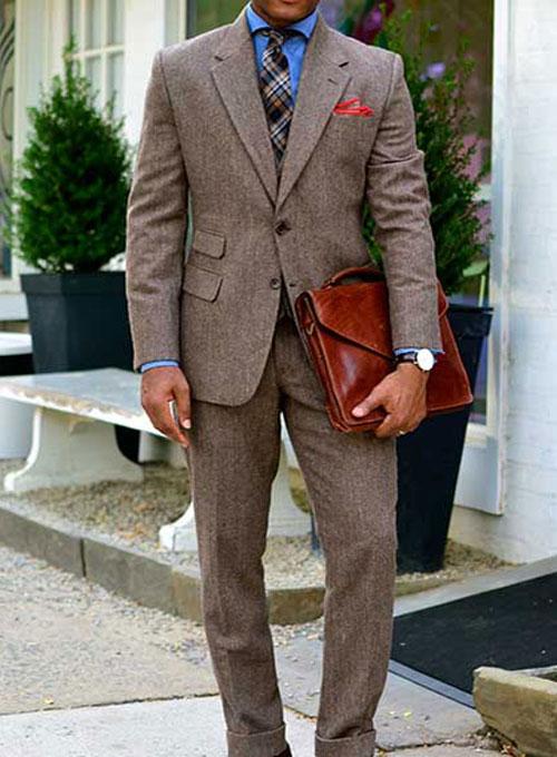 Vintage Dark Brown Herringbone Tweed Suit : MakeYourOwnJeans ...