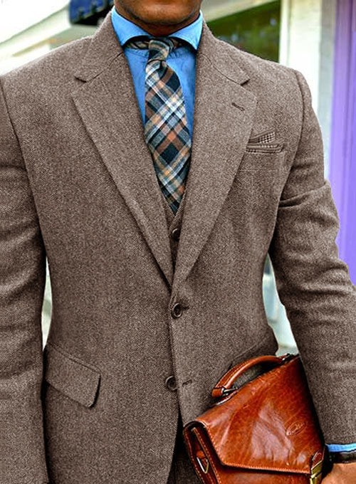 Vintage Dark Brown Herringbone Tweed Suit